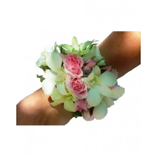 Гривна за шаферка от мини рози и орхидея BR6