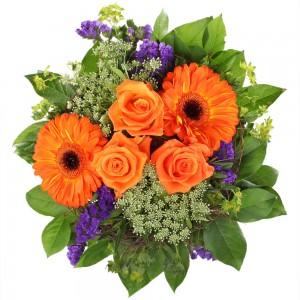 Букет Атина - Оранжеви рози и гербери