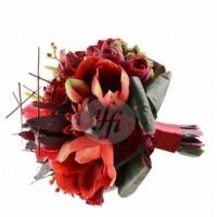 Булчински букет от  амарилиси и червени рози 05