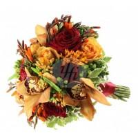 Булчински букет в оранжеви и червени тонове 05