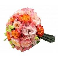 Булчински букет в оранжево розова гама 23
