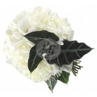Булчински букет в бяло от Божури и Алоказия 33
