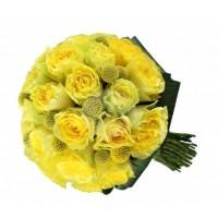 Булчински букет - жълти рози и краспедия