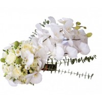 Булчински букет - бели орхидеи 36