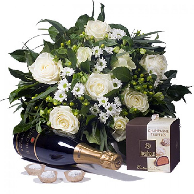 White Flowers, Champagne & Chocolates