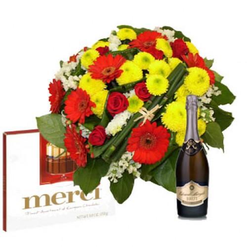 """Букет """"Алексия"""" + шампанско + шоколади"""