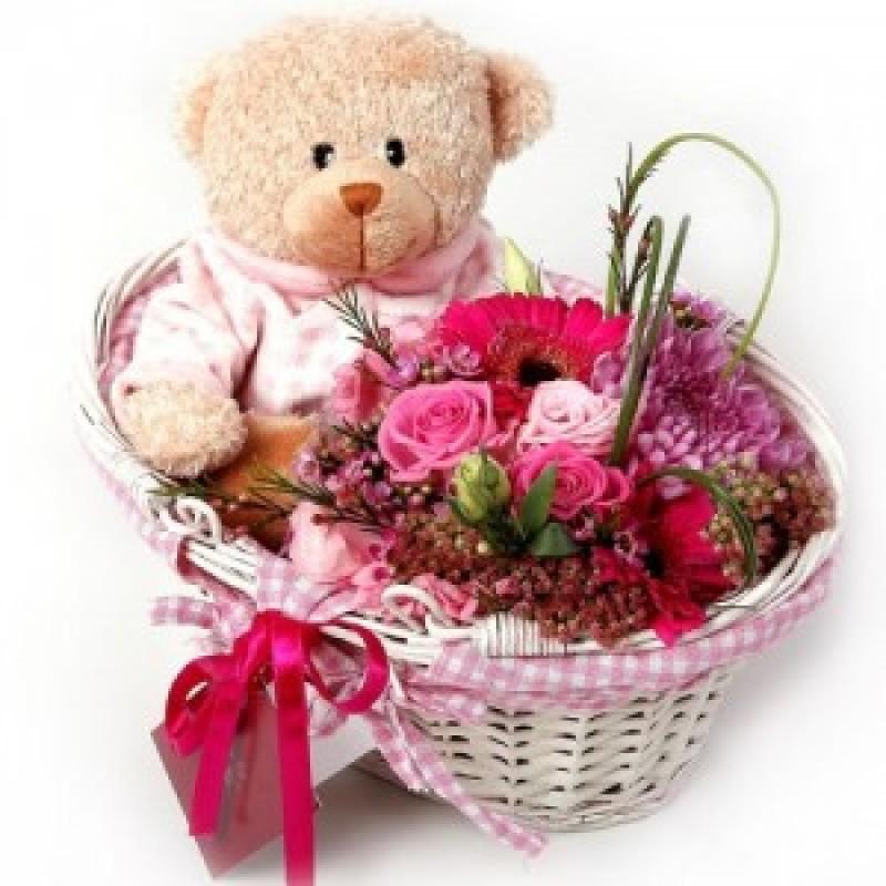 Pink flower basket and baby pink teddy mightylinksfo
