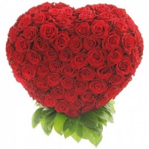 Цветна аранжировка Сърце от 201 червени рози