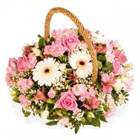 Очарователна розова кошница
